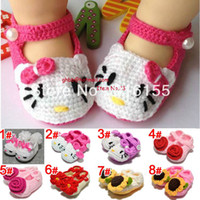 Wholesale Infant Girl Crib Shoes Crochet Knit Spring Summer walking Crocheted shoes Slippers M Styles
