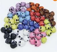 Acrylic, Plastic, Lucite plastic skull - Hot colors Mixed Acrylic Carved Skull Loose Spacer Beads Pick Color mmx12mm Jewelry DIY