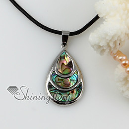 teardrop patchwork sea water rainbow abalone oyster shell mother of pearl necklaces pendants
