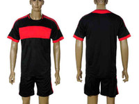 Wholesale Mens Black Blank Away Soccer Jersey amp Short Football Kits Uniforms Custom Sizes S XL