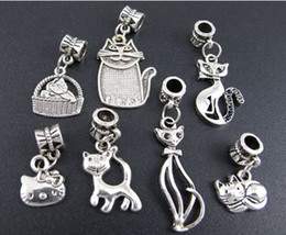 Wholesale New styles Tibetan Silver Mix Cat Kitty Big Hole Alloy Charm Beads Fit European Bracelet Jewelry DIY