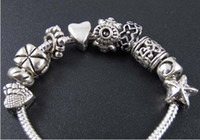 Wholesale 14styles Tibetan Silver Nice Design Big Hole Spacer Beads Fit Charm Bracelet Jewelry DIY Metals Loose Beads