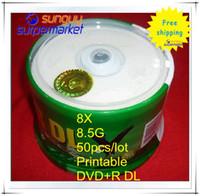 8.5GB DVD+R 8X DVD Wholesale 50pcs lot Banana Printable 8.5G 8X Blank DVD Disc, Cheap price with Original Sealed Case,