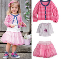 Wholesale Wholesales new Baby Kids Clothing Children s girl s T shirt skirt coat three set suit NT