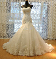 Wholesale 2012 New Wedding Dress Tulle Strapless Straight Neckline Lace Empire Bow Beaded Mermaid Bridal Gown
