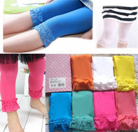 Wholesale Baby girl candy color velvet leggings summer children lace tight pants kid tights trousers legging