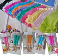 EMS gratuit fille d'été colorés leggings en velours enfants dentelle pantalons serrés enfant collants pantalon legging