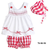 Wholesale Lowest Price summer girls piece sets girl slip dress baby bloomers pants cute headband pc