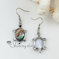 Wholesale new arrive animal sea turtle dolphin seawater rainbow abalone shell mother of pearl earrings