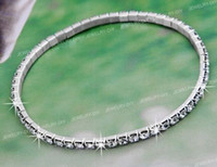 "Cheap 2Pcs Plated Silver Clear Crystal Anklet Ankle Bracelet 0.12"" (001660)"