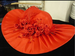 Wholesale Longyu bride dress fedoras red hat wedding fedoras women s hat mz