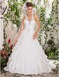 Wholesale New Romantic Ball Gown Halter Taffeta Ruffled Appliques Crystal Beads Wedding Dresses