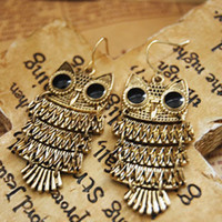 Wholesale new fashion retro cute wild owl earrings female g