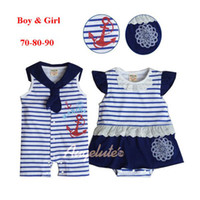 Wholesale Summer Girls Dress Romper Boy Navy rompers Onesies Baby Bodysuit Girl Tutu Pettiskirt Romper Pc