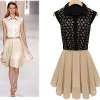 Wholesale Ladies Patchwork Chiffon Work Dress Sleeveless Turn Down Collar Slim Formal Pleated Dress Plus Size Knee_Length Black Beige Dresses LJ0408