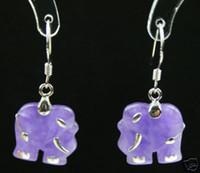 Dangle & Chandelier   Fancy lady's green purple red jade elephant danlge earrings free shipping