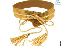 belt with fringe - New Arrival Gold Sash Belts wide Cummerbund Women Waistbands Fringe Decorated Belt Rope Corset Belt With Tassel