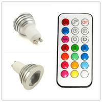 Wholesale 100PCS RGB W GU10 Spotlight Multi Color Change RGB LED Light Bulb Lamp With key Remote Control