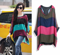 Wholesale fashion new lady blouse new Maternity colored stripes bat chiffon blouse tops two piece