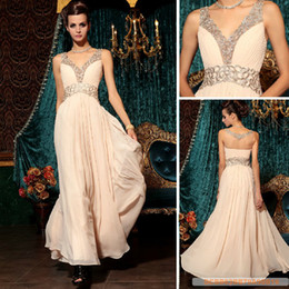 Wholesale Pretty New V Neck Embroidery Beaded Floor length Chiffon Evening Dresses Party dresses