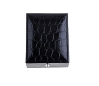 Wholesale 10pcs Elegant Leather Cover Plastic Black Scale Cufflinks Box Velvet Lining Party Gift Box Display
