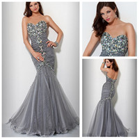 Wholesale Sexy Style Sweetheart Beaded and Sequin Silver Tulle Mermaid Evening Dresses Fashion In Stock