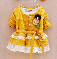 Wholesale Wholesales Baby Kids Clothing Flower Dress Girl s cotton lace dress Long Sleeved Dress Girl Clothes Fashion Princess Dress Flower Dress