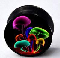 Wholesale colorful mushroom acrylic ear plug flesh tunnel body jewelry mixing size EAR066