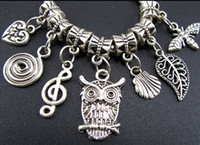 bee charms beads - 140pcs Styles Tibetan Silver Owl Leaves Bee Dangle Big Hole Beads Fit European Charm Bracelet Jewelry DIY