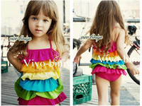 4T-8T 4-8Y  One-piece Kids swimwear Summer girls cute rainbow flouncing cake skirt swimsuit girls swimsuit girls swimwear