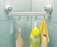Tableware suction hook - Bedroom Bathroom Sliding five linked Hook Rack Suction Cup Wall Hanger Towel Hanging