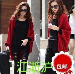 Wholesale 2013 autumn outfit new medium style cape coat knitted cardigan sweater bat sleeve loose sweaters