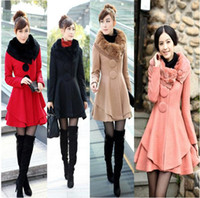 Wholesale New Women s Slim Rabbit fur collar Warm Winter Woolen Long Coat Jacket Outwear