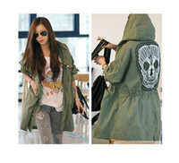 Women Cotton Street Fashion New Lady Womens Military Parka Button Trench Skull Back Hooded Jacket Coat