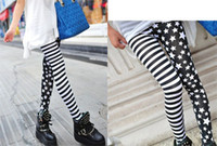 Wholesale HOT Fashion New Stripes stars splicing Leggings Tights Legwear Pants Cool Design