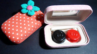 Wholesale 10pcs lovely canvas Contact Lens Case Contact Lens case Kit Contact Lens Holder in Set