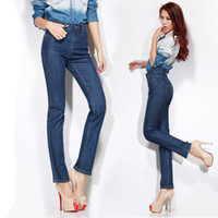 Wholesale 2015 Large size jeans spring Jeans high waist denim pencil trousers elastic straight trousers high quality TZ1037