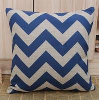 wholesale cushion covers - JL033C Blue Chevron Zig Zag Cotton Linen Cushion Cover Pillow Cover