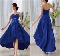 Wholesale Royal Blue Custom Made Sweetheart High low Skirt Elastic Satin Bridesmaid Dress Party Dress Fashion Simple Bridesmaid Formal Gown