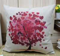 Wholesale JL030B Red Love Tree Cotton Linen Cushion Cover Pillow Cover