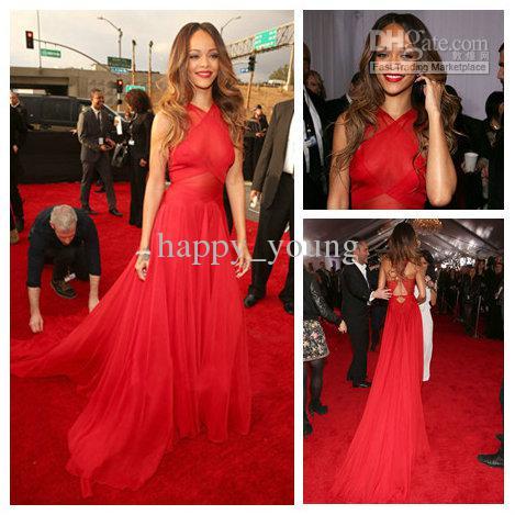 Famous Designer Celebrity Dress Red Chiffon Pleat Floor Length ...