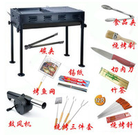 Wholesale large size thick carry home outdoor bivouac picnic BBQ grill barbecue oven with many accessories
