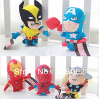 "Unisex 5-7 Years other Wholesale 50 Lot (a set = 5 pcs) 5 Figures The Avengers Plush Toy Soft Stuffed Doll Toy 7""Free Shipping EMS"