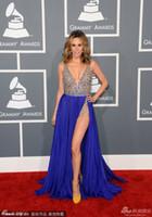 A-Line backless jumper - Keltie Colleen Celebrity Dresses the th Grammy Awards Red Carpet Dress Royal Blue Detachable Skirt Sheer Jumper