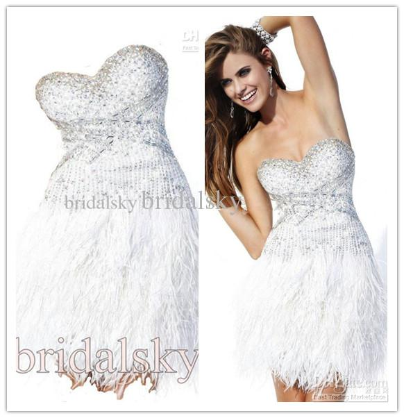 2015 Summer Dress Dignified White Rhinestone Beading Feather ...