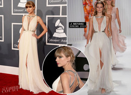 Wholesale Swift the th Grammy Awards Red Carpet Dresses Sexy Crisscross Pleated Chiffon Gowns