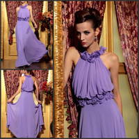 Wholesale Fashion cheap halter sash handmade flower ruffle lilac formal evening dresses prom dresses chiffon