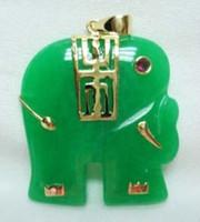 Lockets   Noblest men women's white purple red green jade elephant 18KGP pendant free ship