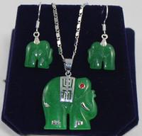 Earrings & Necklace   Fancy carved green jade elephant pendant & earrings set free shipping