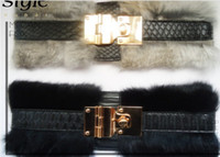 Wholesale Rabbit Fur Sash Belt Fasion Lady Girdle Women cummerbund Lady Waistbands luxury Fur Belt Corset
